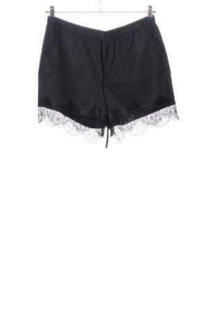 Reserved High-Waist-Shorts hellgrau-schwarz Streifenmuster Casual-Look
