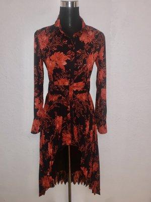 Reserved Kleid Maxikleid lang Vokuhila Blumen Muster Langarm leicht fliessend