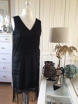Reserved Kleid Midi Spitze Fransen Schwarz Gr. L