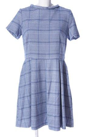 Reserved Kurzarmkleid blau-weiß Allover-Druck Business-Look