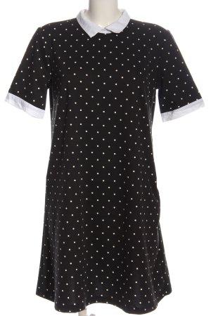 Reserved Kurzarmkleid schwarz-weiß Punktemuster Casual-Look