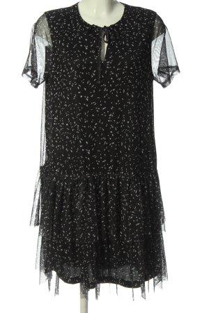 Reserved Kurzarmkleid schwarz abstraktes Muster Elegant