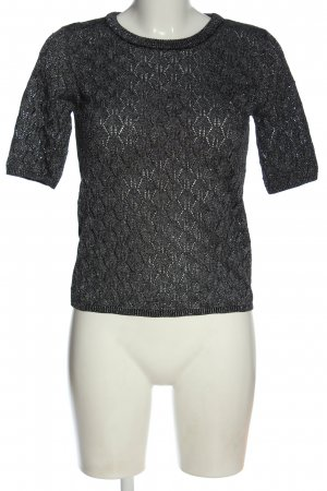 Reserved Kurzarmpullover schwarz-silberfarben Zopfmuster Elegant