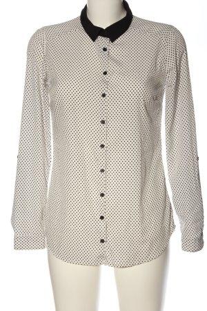 Reserved Langarm-Bluse weiß-schwarz Allover-Druck Business-Look
