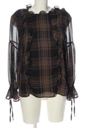 Reserved Langarm-Bluse schwarz-nude Karomuster Casual-Look
