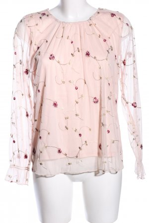 Reserved Langarm-Bluse nude Blumenmuster Casual-Look