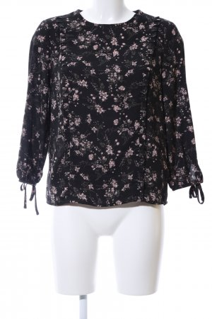 Reserved Langarm-Bluse schwarz-pink Allover-Druck Casual-Look