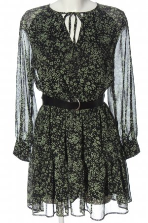Reserved Langarmkleid schwarz-grün Allover-Druck Elegant
