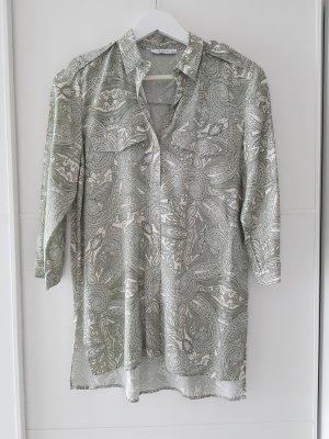RESERVED Long-Bluse, 3/4Arm, hellgrün, beige, Paisley-Muster, Gr.34