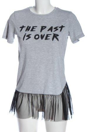 Reserved Longshirt hellgrau-schwarz meliert Casual-Look
