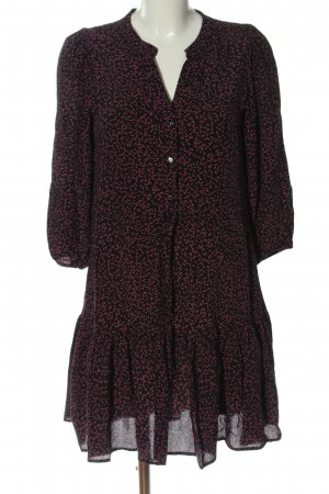 Reserved Blusenkleid schwarz-pink Allover-Druck Casual-Look