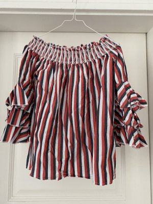 Reserved Offshoulderbluse Volants schwarz rot weiß 38