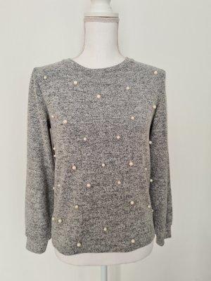 Reserved Pullover Oberteil mit Perlen in grau weiß Gr. XS