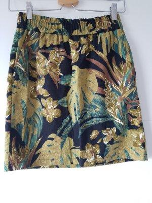 RESERVED Rock, Dschungel-/Palmen-Muster, Gr.36/38, schwarz, grün, Baumwolle