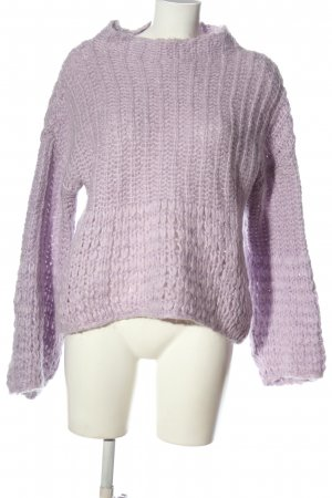 Reserved Grobstrickpullover lila Zopfmuster Casual-Look