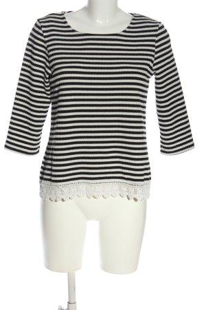 Reserved Rundhalspullover schwarz-weiß Streifenmuster Casual-Look