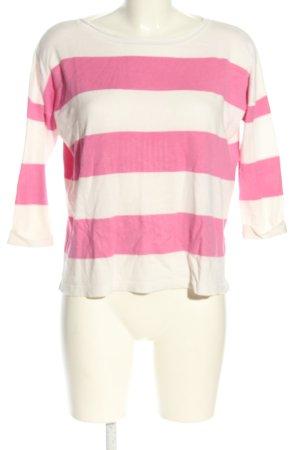 Reserved Rundhalspullover pink-wollweiß Allover-Druck Casual-Look