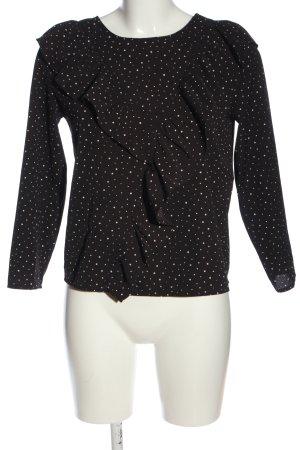 Reserved Schlupf-Bluse schwarz-weiß Punktemuster Casual-Look