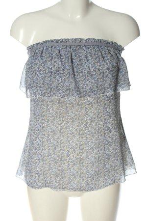 Reserved Hauts épaule nues bleu-blanc motif abstrait style décontracté