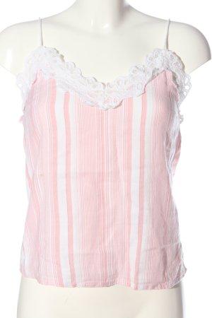 Reserved Spaghettiträger Top weiß-pink Streifenmuster Casual-Look
