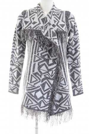 Reserved Strick Cardigan weiß-schwarz Allover-Druck Casual-Look