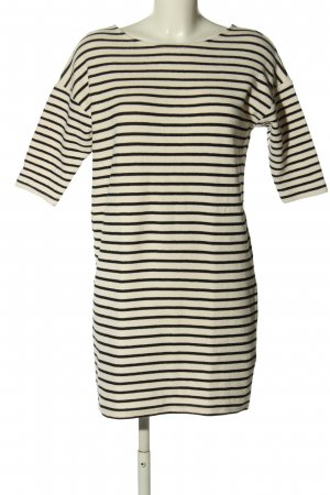 Reserved Knitted Dress cream-black striped pattern casual look
