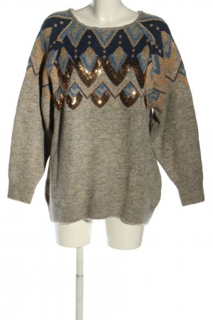 Reserved Strickpullover hellgrau-blau grafisches Muster Casual-Look