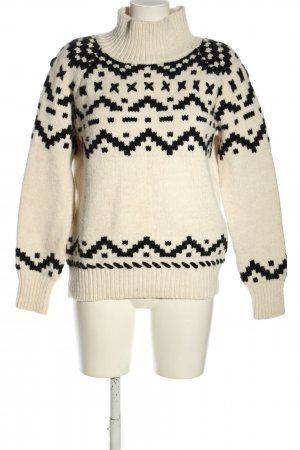 Reserved Strickpullover creme-schwarz grafisches Muster Casual-Look