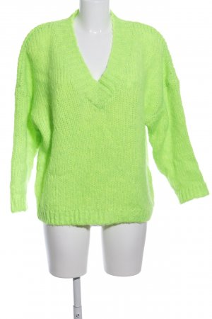 Reserved Strickpullover neongrün Casual-Look