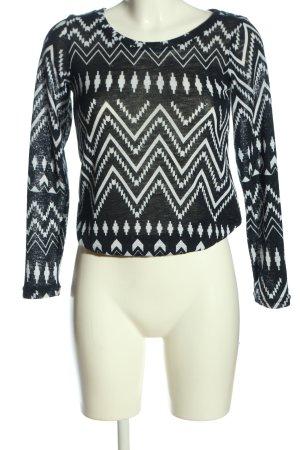 Reserved Strickshirt schwarz-weiß Allover-Druck Casual-Look