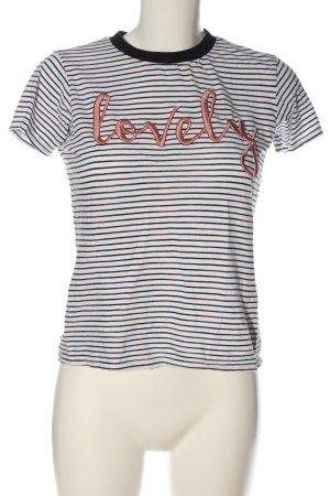 Reserved T-Shirt weiß-schwarz Schriftzug gestickt Casual-Look