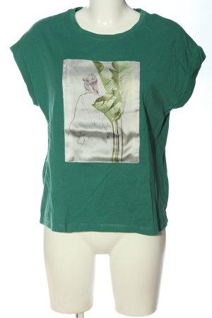 Reserved T-Shirt grün-hellgrau Motivdruck Casual-Look