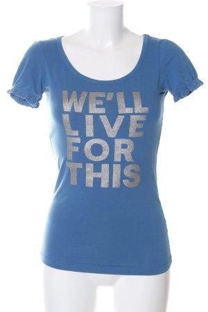 Reserved T-Shirt blau-silberfarben Schriftzug gedruckt Casual-Look