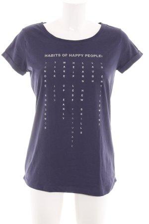 Reserved T-Shirt lila Schriftzug gedruckt Casual-Look