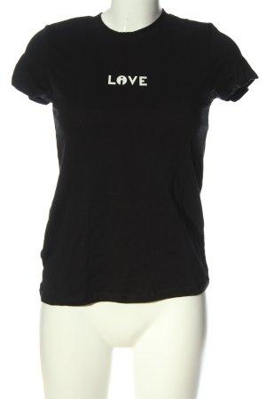 Reserved T-Shirt schwarz-weiß Schriftzug gedruckt Casual-Look