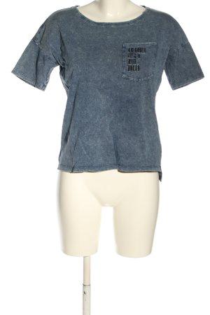 Reserved T-Shirt blau Schriftzug gedruckt Casual-Look