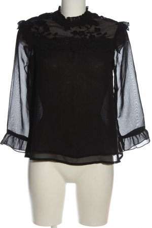 Reserved Transparenz-Bluse schwarz Casual-Look