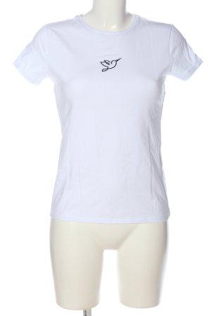 Reserved Koszulka z dekoltem w łódkę biały-czarny W stylu casual