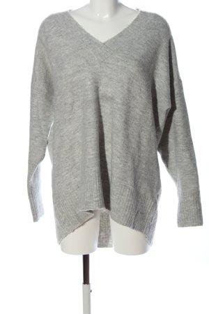 Reserved V-Ausschnitt-Pullover hellgrau meliert Casual-Look