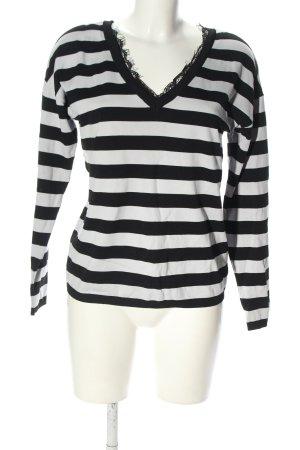 Reserved V-Ausschnitt-Pullover schwarz-weiß Allover-Druck Casual-Look