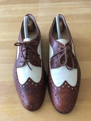 Breuninger Exquisit Zapatos estilo Oxford crema-marrón Cuero