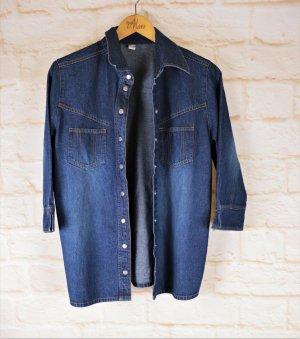 Retro 70er Look Jeanshemd Bluse Sommer Hemd Größe 40 42 Dark Blue Denim Jeansbluse Girlfriend Western