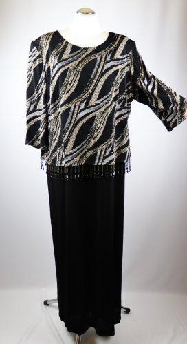 Retro Abendkleid Festkleid Maxikleid Hermann Lange Größe XL 48 Schwarz Grau Goldfarben Jersey Perlen 20er 40er Look Charlston