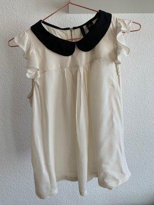 Retro Bluse mit schwarzem Kragen, MANGO, Größe L