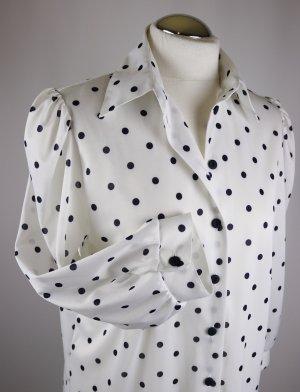 Retro Bluse Polka Dots Größe M 38 40 Weiß Schwarz Punkte Rüschen Bausch Ärmel Rockabilly