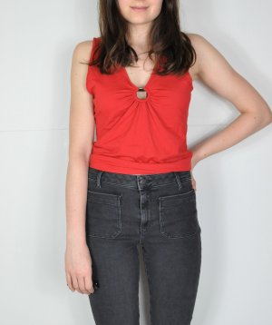 Vintage Basic Top silver-colored-brick red