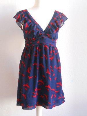 Retro Chiffon Kleid mit Vogelprint Gr. 36/38
