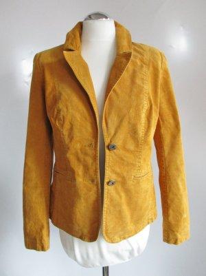 Retro Cord Blazer Street One Größe M 36 38 Jacke Babycord Kord Senf Maisgelb Gelb Figurnah Ellenbogen Patches