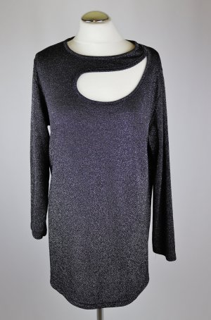 Retro Disco  Stretch Shirt Langarmshirt Größe XL 42 44 Schwarz Silberfarben Glitzer Cut Out Langarm Pullover 80er Oversize Longshirt