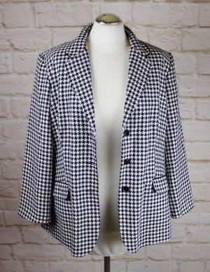 Retro Elegant Blazer Klassisch Business Lenara Größe 46 Hahnentritt Muster Schwarz Weiß Jacke Struktur Stoff